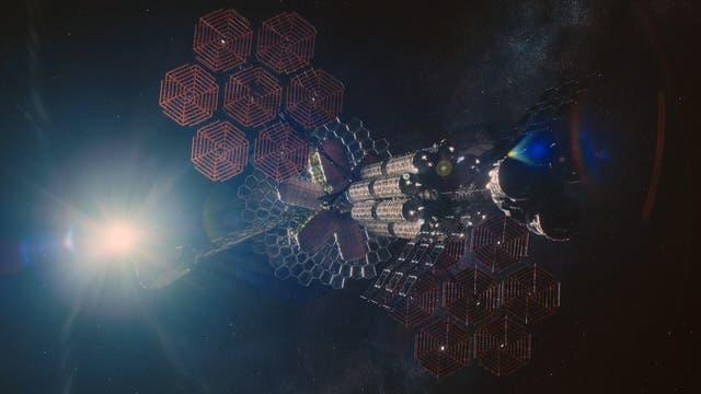 Das Raumschiff Æther aus dem Sci-Fi-Film »Midnight Sky«.