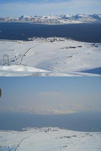 Schlechte Fernsicht auf Spitzbergen