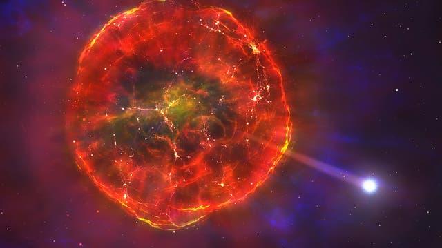 Weißer Zwergstern entkommt aus Supernova-Trümmerwolke (künstlerische Darstellung)