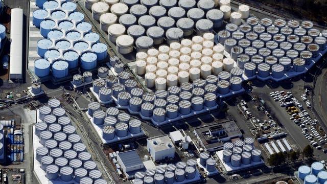 Tanks mit kontaminiertem Wasser in Fukushima