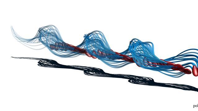 Illustration eines menschlichen Spermiums, dass sich ähnlich einem Korkenzieher bewegt
