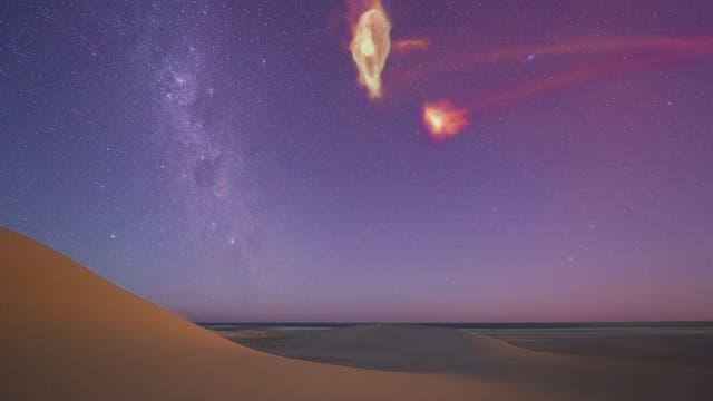 So sähen die Magellanschen Wolken aus, wenn man auch das Gas in ihrem Umfeld sehen könnte