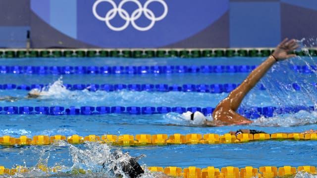 Probeschwimmen im Tokyo Aquatics Centre am Tag vor der Eröffnung der Olympischen Sommerspiele in Tokio am 22. Juli 2021.