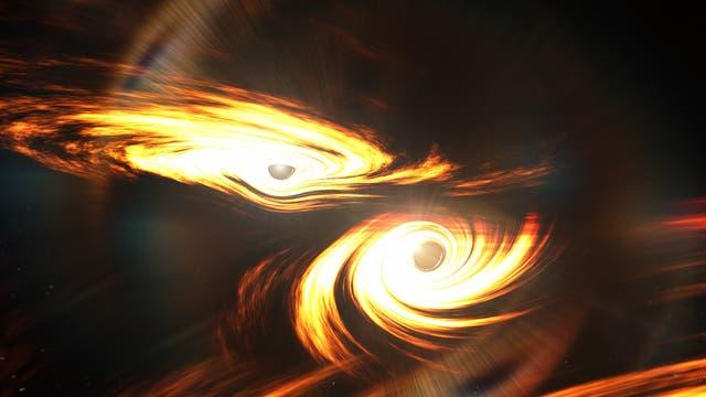 Künstlerische Darstellung zweier Schwarzer Löcher