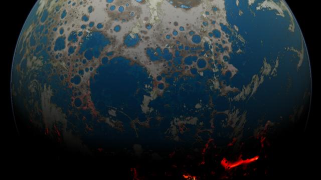 Entwicklung der ersten kontinentalen Kruste (Illustration)