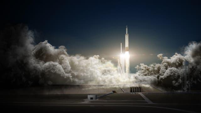 Künstlerische Darstellung vom Start der Falcon Heavy mit Dragon-Kapsel