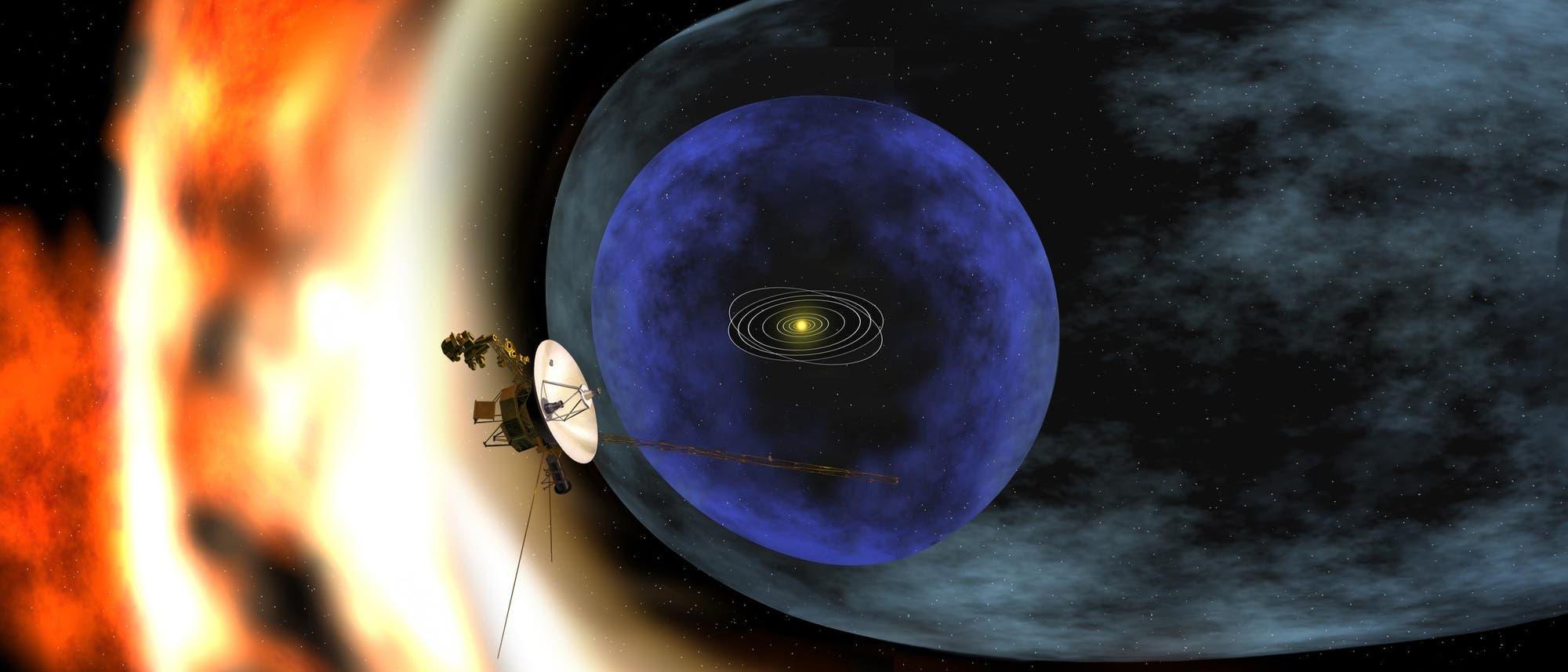 Künstlerische Darstellung einer Voyager-Raumsonde am Rand des Sonnensystems