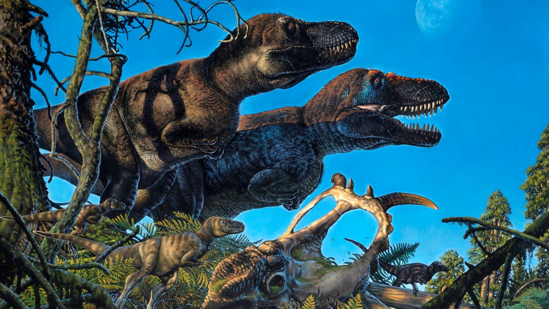 Künstlerische Darstellung von Nanuqsauriern mit Jungtieren