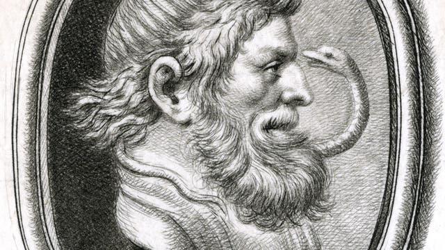 Zeichnung mit Darstellung des römischen Gotts Aesculapius mit einer Schlange um das Haupt.