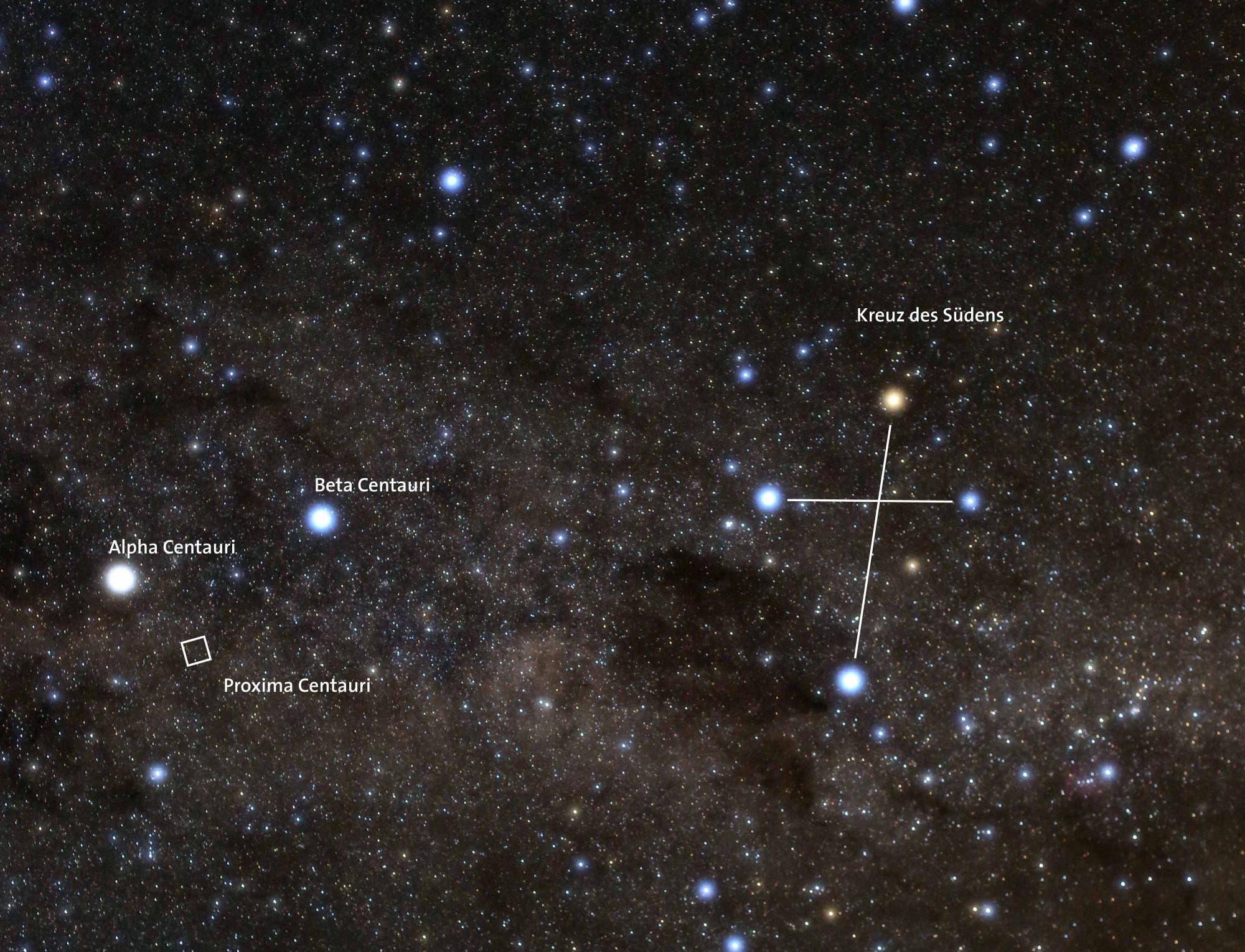 Proxima Centauri im südlichen Sternbild Zentaur (Übersichtsbild)