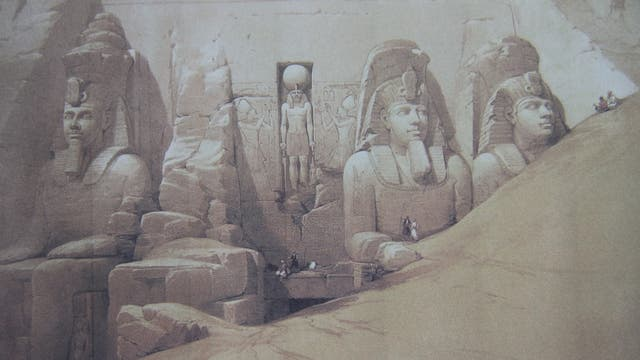 Zeichung der Monumentalstatuen vor dem Ramses-Tempel von Abu Simbel