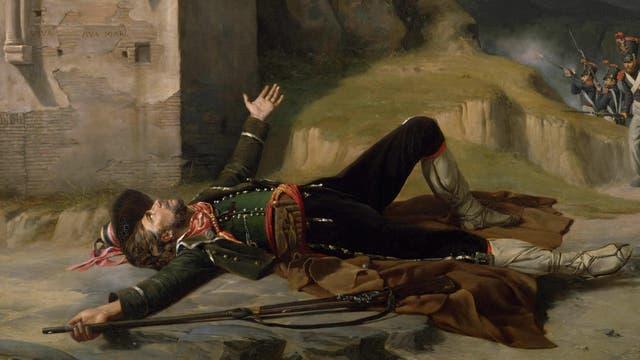 Sterbender Brigant, Ölgemälde aus dem Jahr 1824 von Guillaume Bodinier
