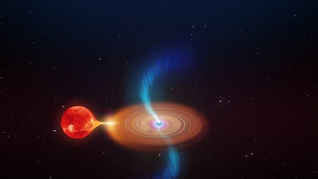 Künstlerische Darstellung eines Schwarzen Lochs, das einen Stern frisst.