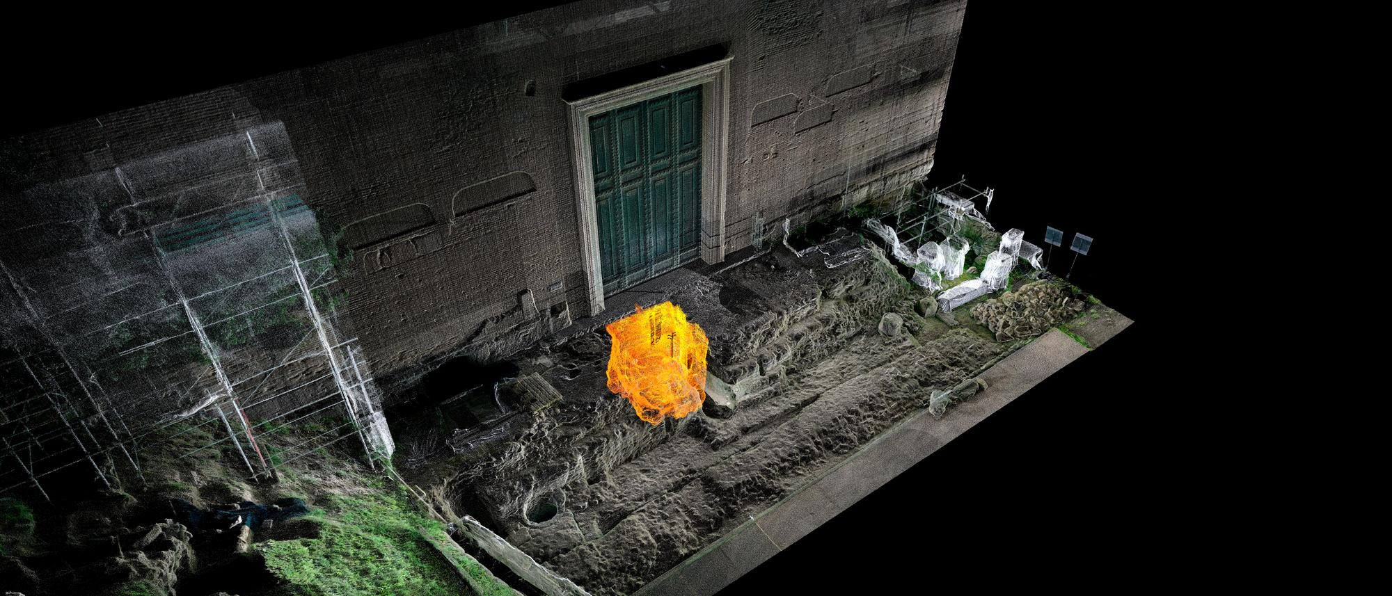 Laserscan des unterirdischen »Grab des Romulus« (gelb) und seiner Umgebung an der Curia Iulia