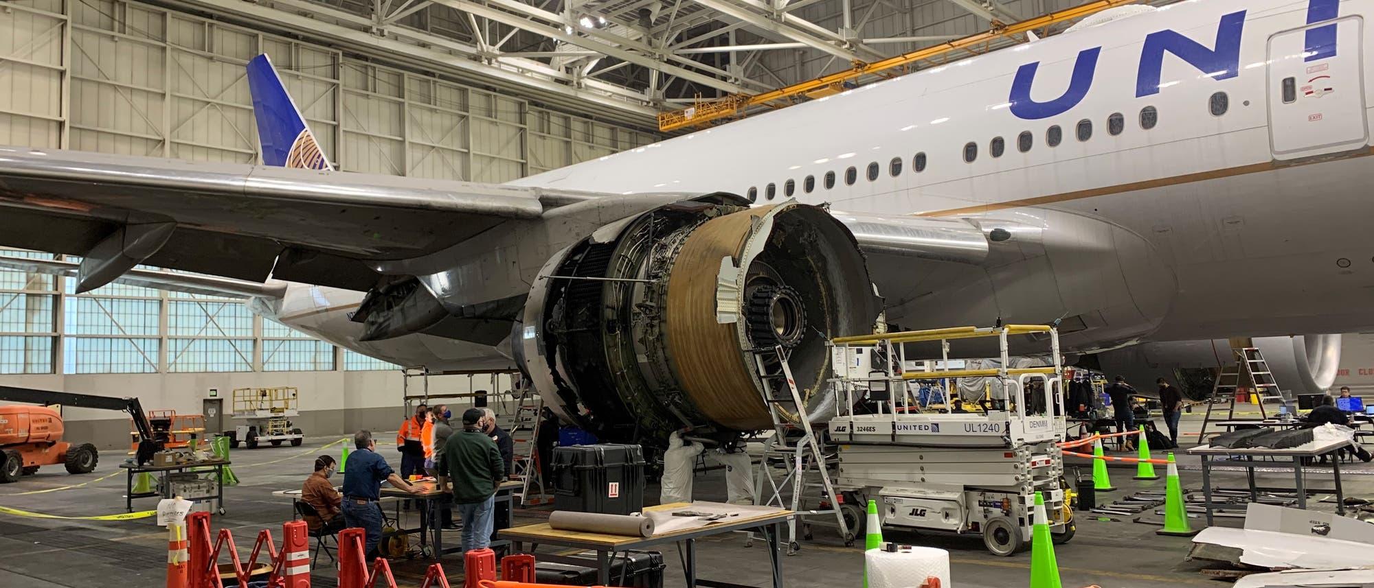 Auf Schadenssuche im Hangar von NTSB