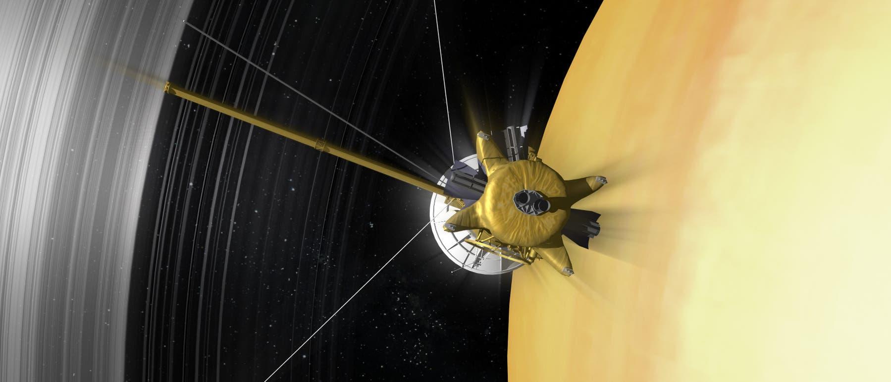 Cassini durchdringt die Lücke zwischen D-Ring und Saturnatmosphäre (künstlerische Darstellung)