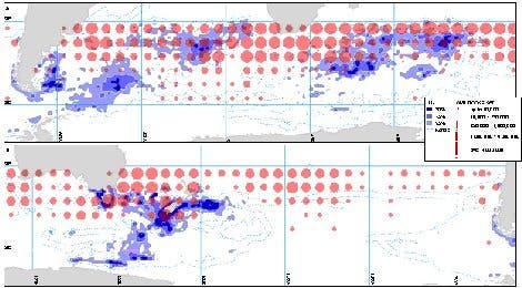 Karte der Verbreitung von Albatrossen und der Langleinen-Fischerei