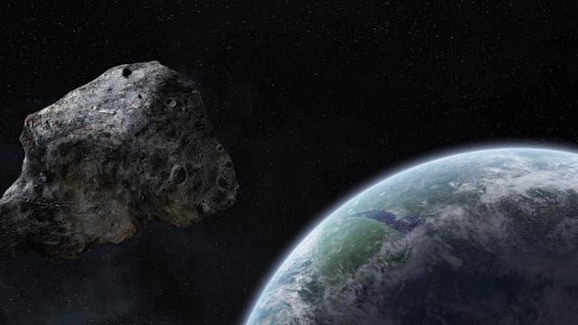 in Steinbrocken aus dem All nähert sich der Erde: künstlerische Darstellung