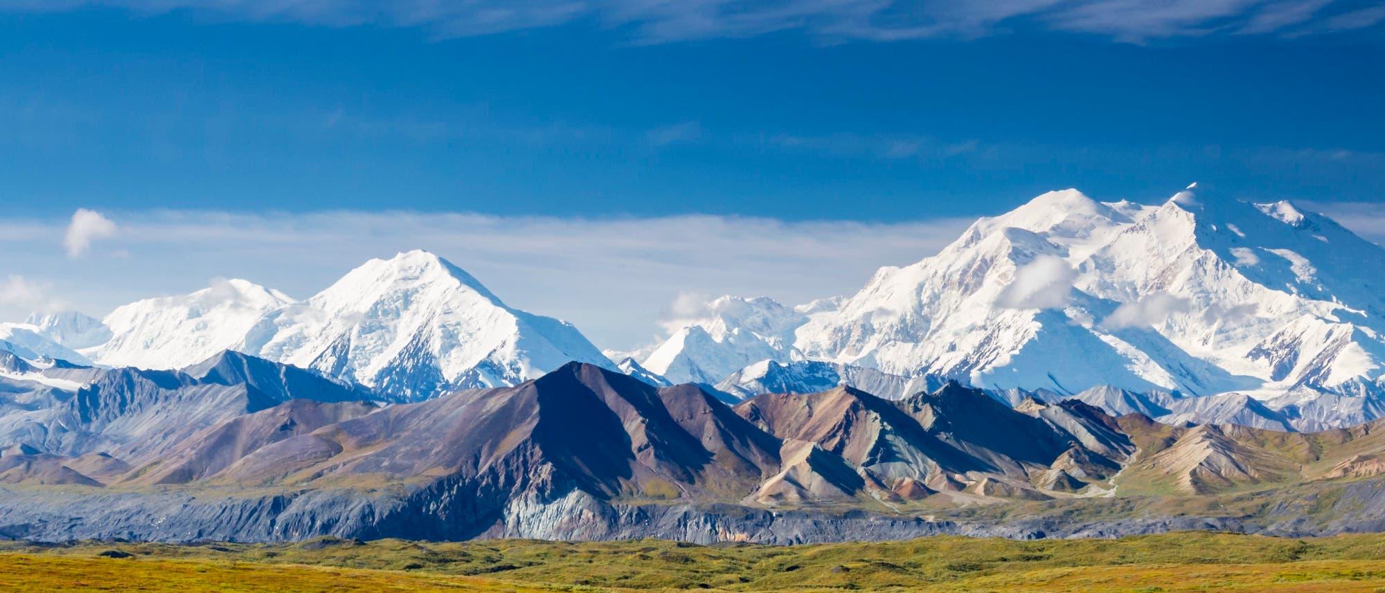 Der Mount Mckinley mit dem Muldrow-Gletscher im Denali Nationalpark, Alaska.