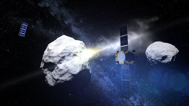 ESA-Sonde AIM mit den beiden Hilfssatelliten (künstlerische Darstellung)