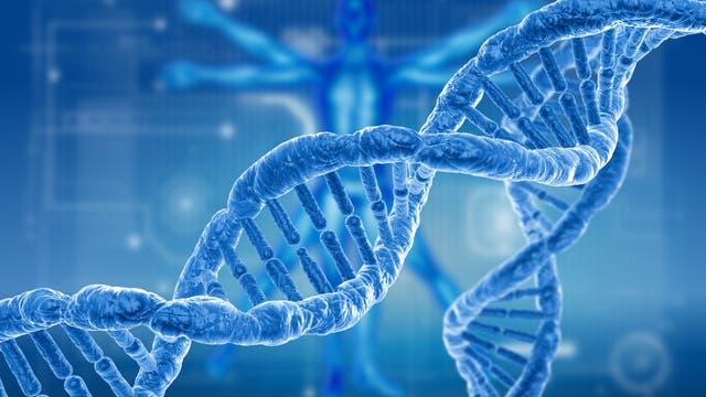 Ein blauer stilisierter DNA-Strang vor blauem Hintergrund