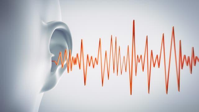 Ein Ohr und eine gezackte Linie, die wohl Schall darstellen soll.