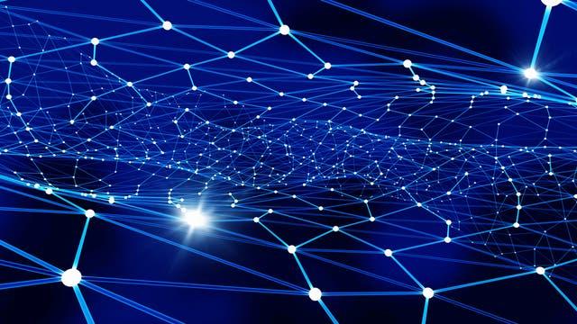 Ein näherungsweise zweidimensionaler Graph in drei Dimensionen vor blauem Hintergrund.