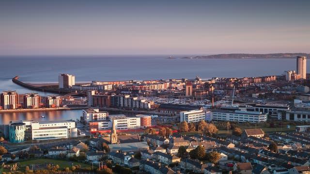 Swansea mit Marina, Südwales.