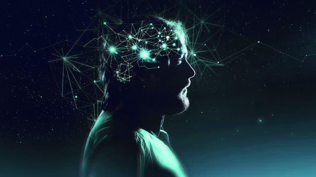 Profil eines Mannes mit symbolischen Neuronen
