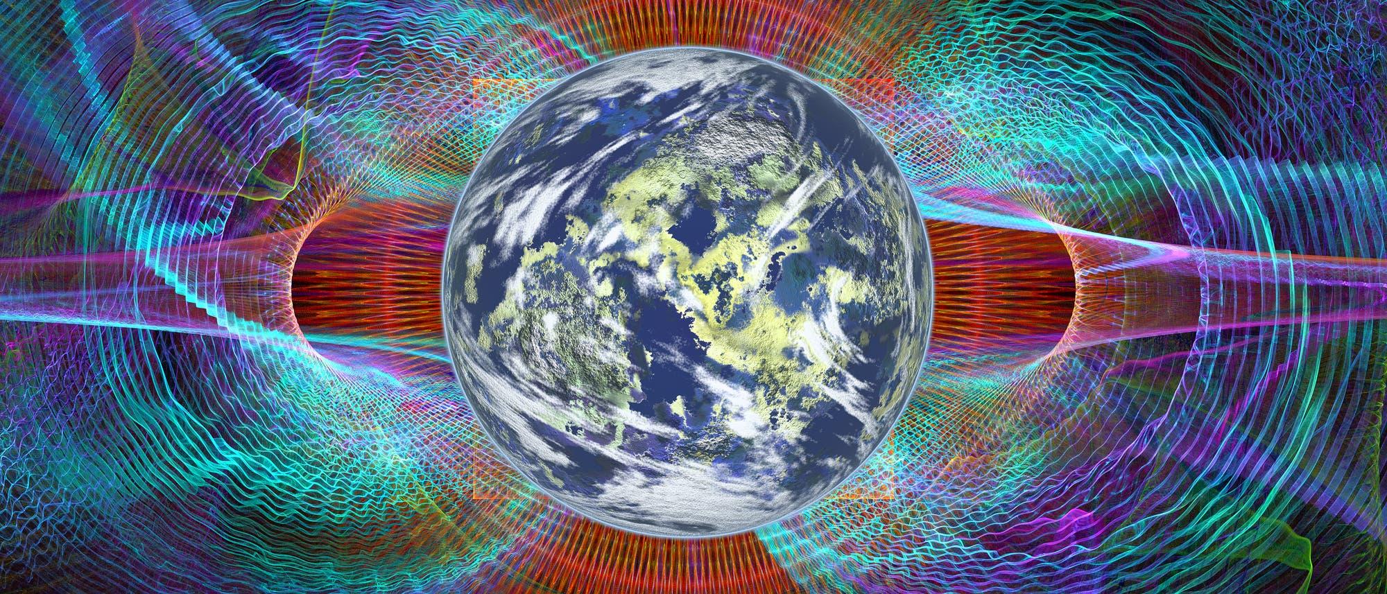 Erde mit Magnetfeld