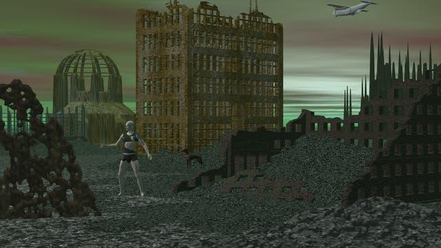 Postapokalyptische Ruinenstadt. Allerdings ein ganzes Stück malerischer als reale zerstörte Städte, die vor allem aus unansehnlichen Schuttbergen bestehen.