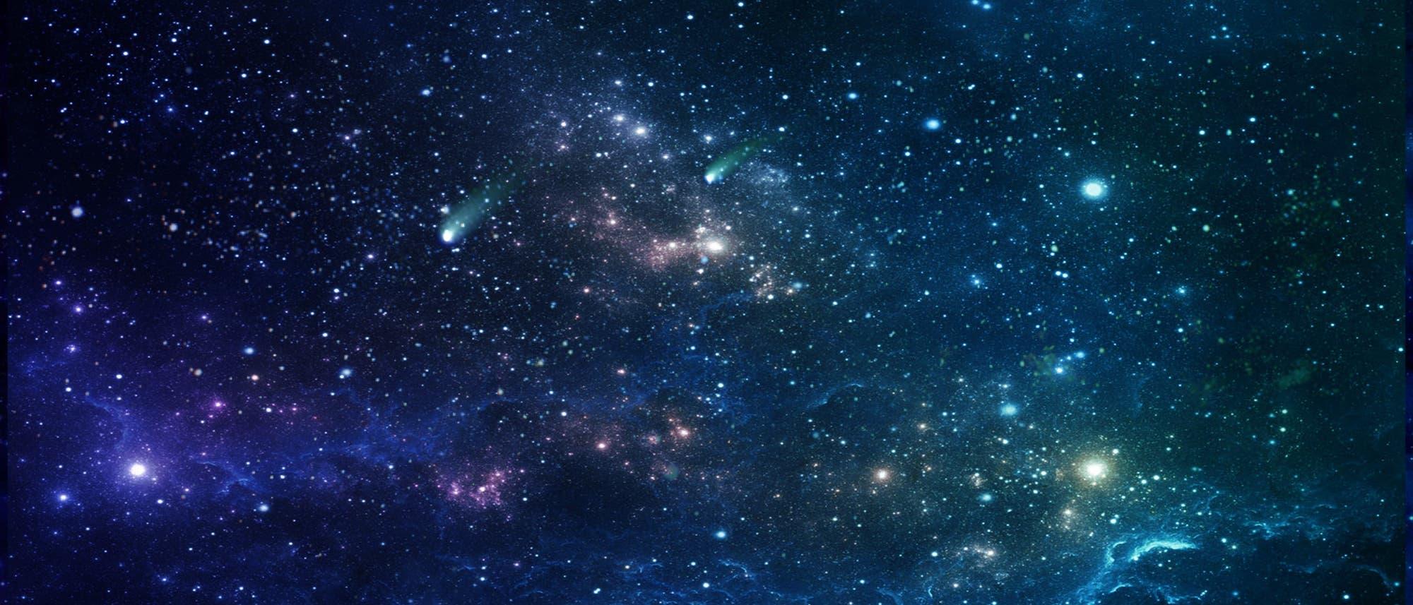 Ein fiktiver Sternenhimmel mit deutlich intensiveren Farben