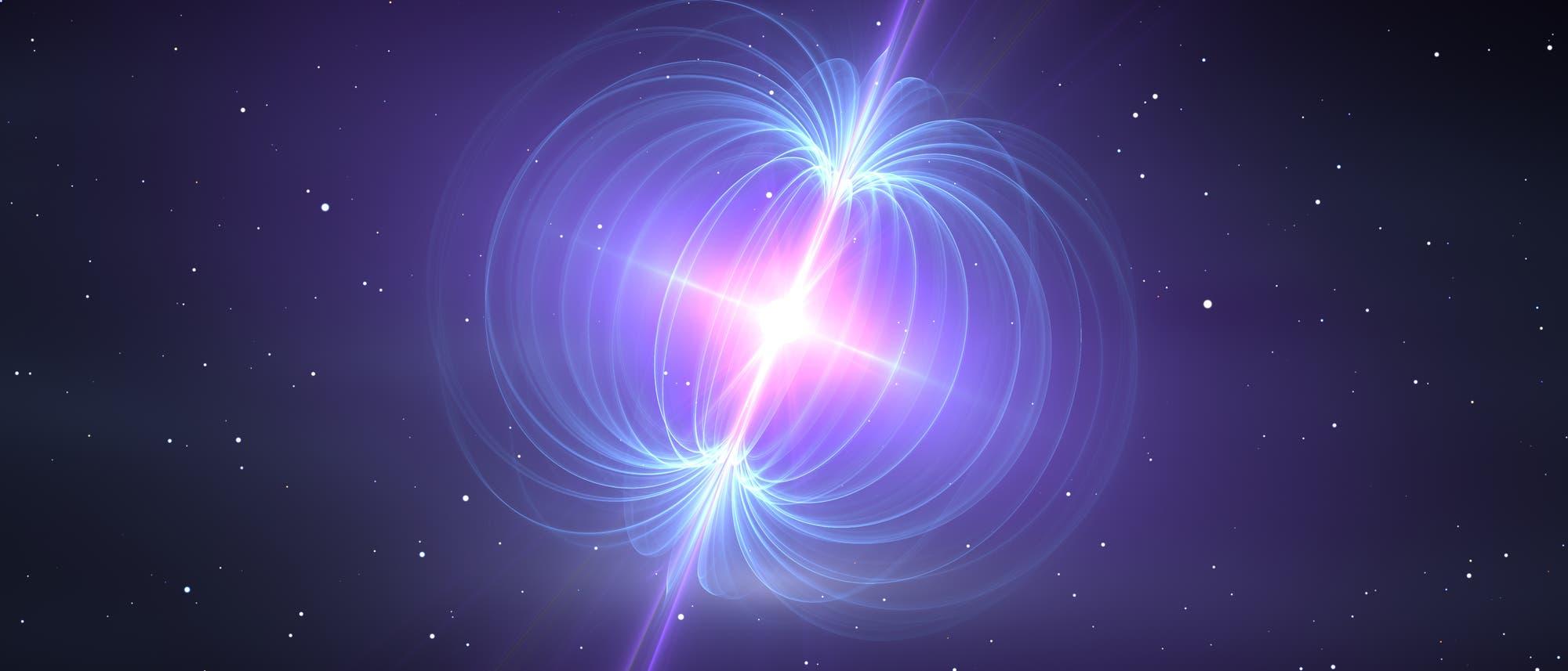 Die Illustration zeigt ein energiereiches Ereignis im Weltraum.