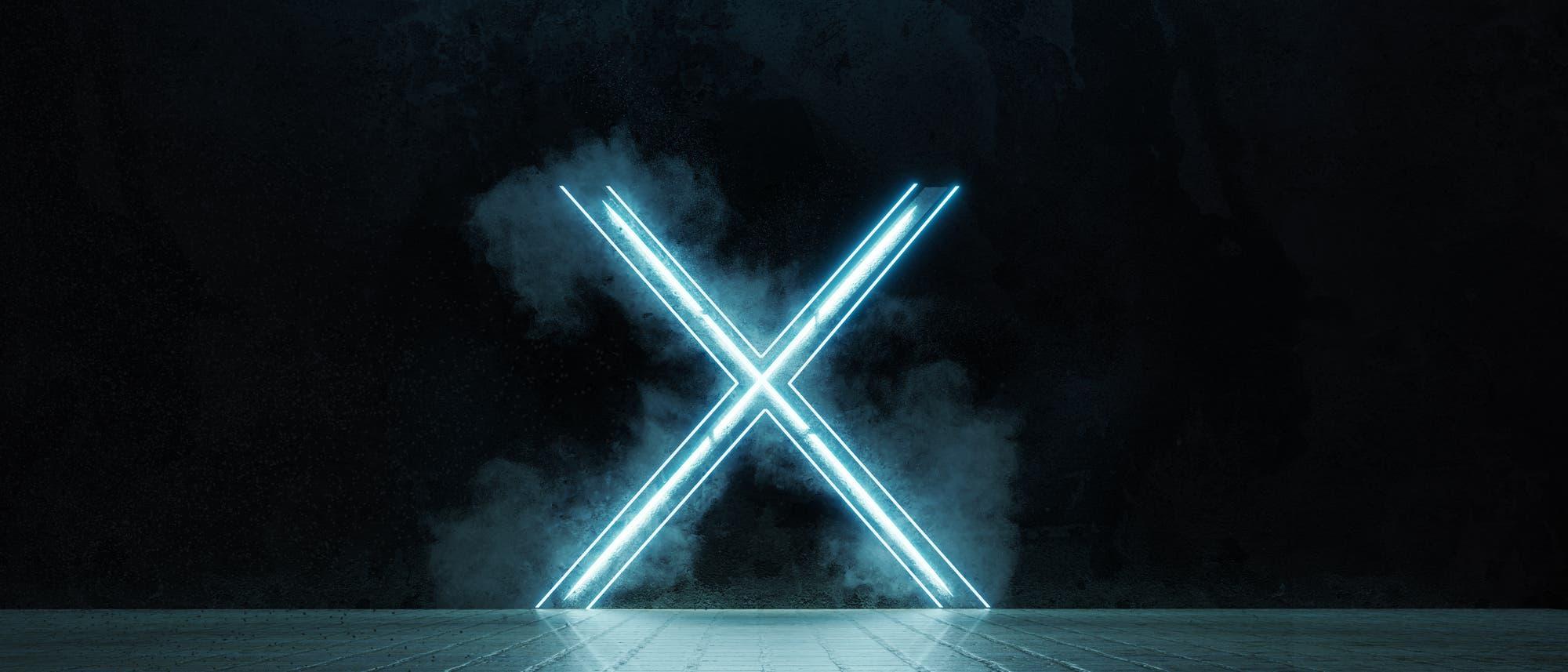 Eine düstere 3-D-Darstellung eines X aus Leuchtstoffröhren.