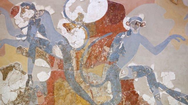 MInoisches Fresko mit blauen Affen aus Akrotiri auf Santorin, um 1600 v. Chr. (Raum 6 im Hauskomplex Beta)