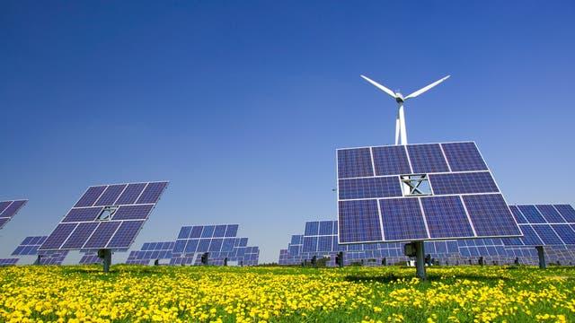 Windrad und Solarzellen ergänzen sich auf einer Wiese