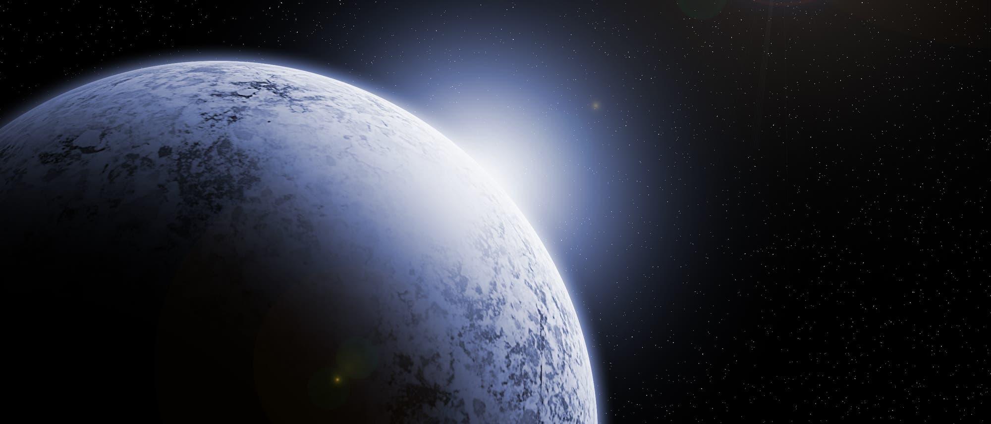 Eine künstlerische Impression der komplett vergletscherten Erde im All