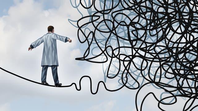 Ein Wissenschaftler balanciert auf einem Drahtseil, das in einem unentwirrbaren Chaos zu enden scheint. Mit anderen Worten: Ein Doktorand.