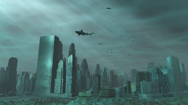 Die Skyline einer Stadt unter Wasser. Da jede versinkende Stadt aber erst einmal durch die Brandungszone durchmuss, sind echte untergegangene Städte mit Sand und Schutt überdeckte Trümmerhaufen.