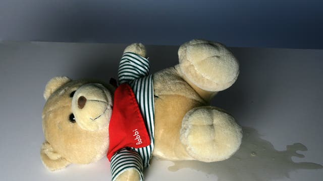 Teddy mit Pfütze