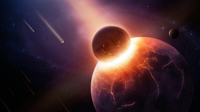 Künstlerische Darstellung der Kollision eines Planeten mit einem deutlich kleineren Planetoiden.