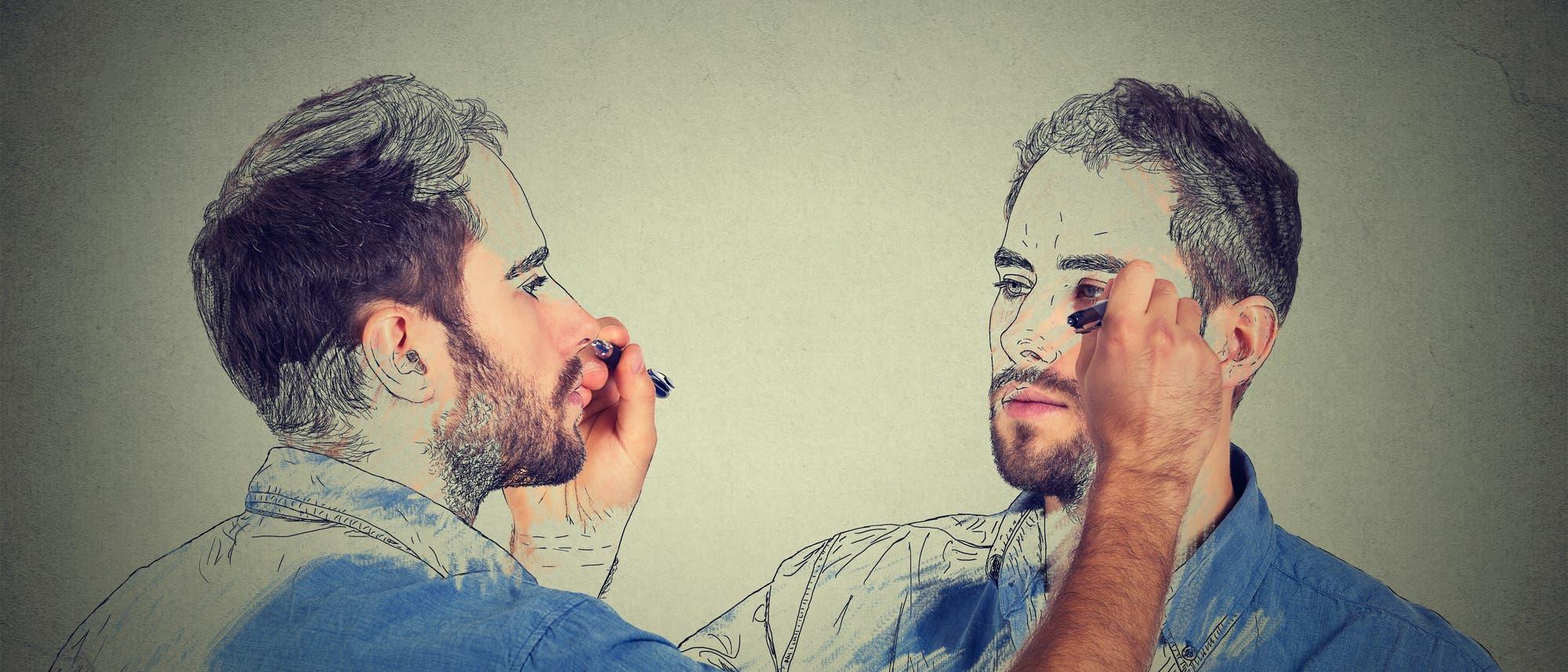Mann und sein Spiegelbild zeichnen sich selbst