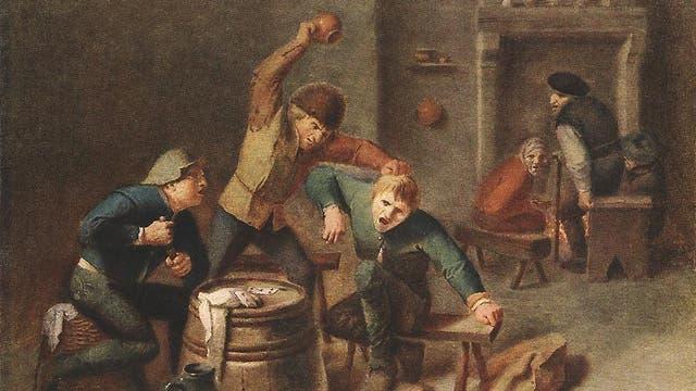 Ein Ölgemäde von Adriaen Brouwer zeigt eine Bauernrauferei beim Kartenspiel