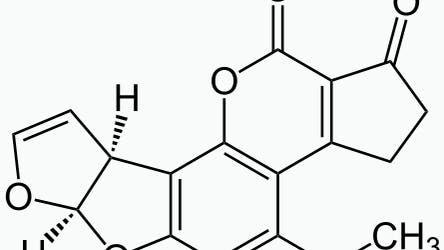Strukturformel von Aflatoxin B1