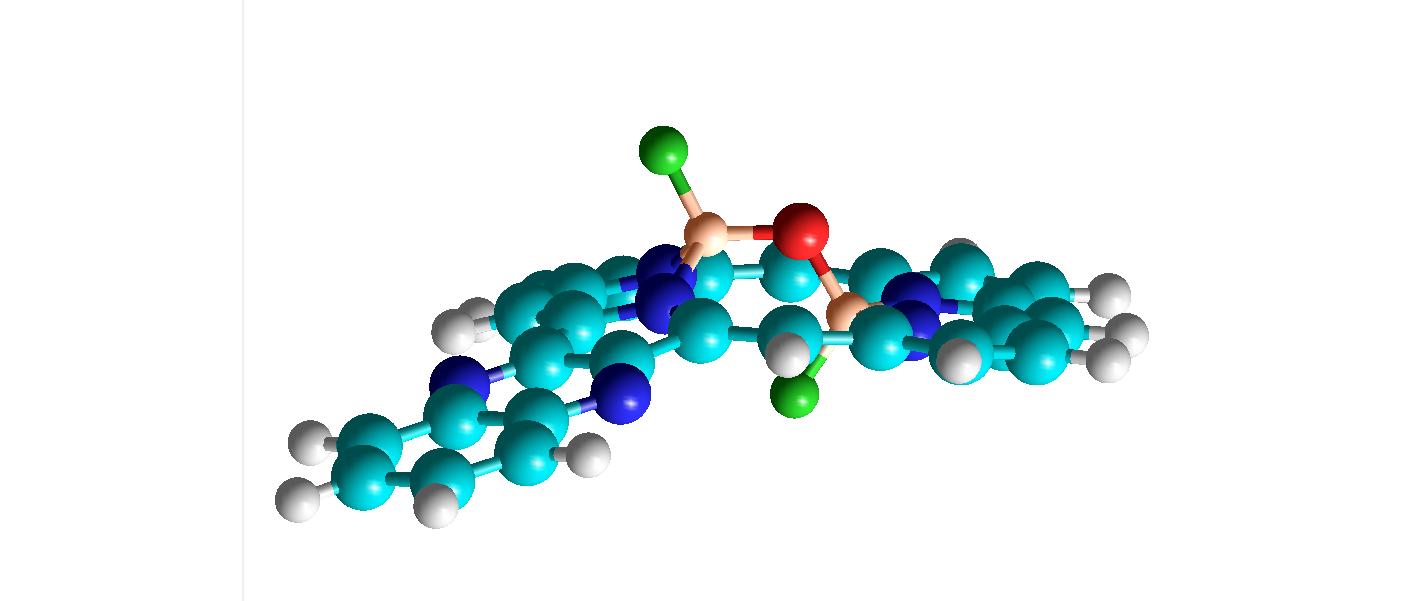 Eines der Porphysin-Bor-Sauerstoff-Akamptisomere. Sauerstoff ist rot, Bor rosa, Fluor hellgrün und Stickstoff blau.