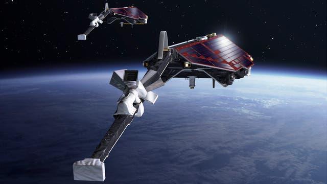 Die drei Satelliten der Swarm-Konstellation (künstlerische Darstellung)