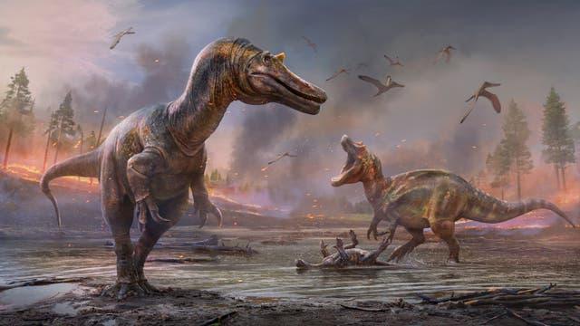 Rekonstruktionen der beiden Dinosaurier in ihrer einstigen Lebenswelt