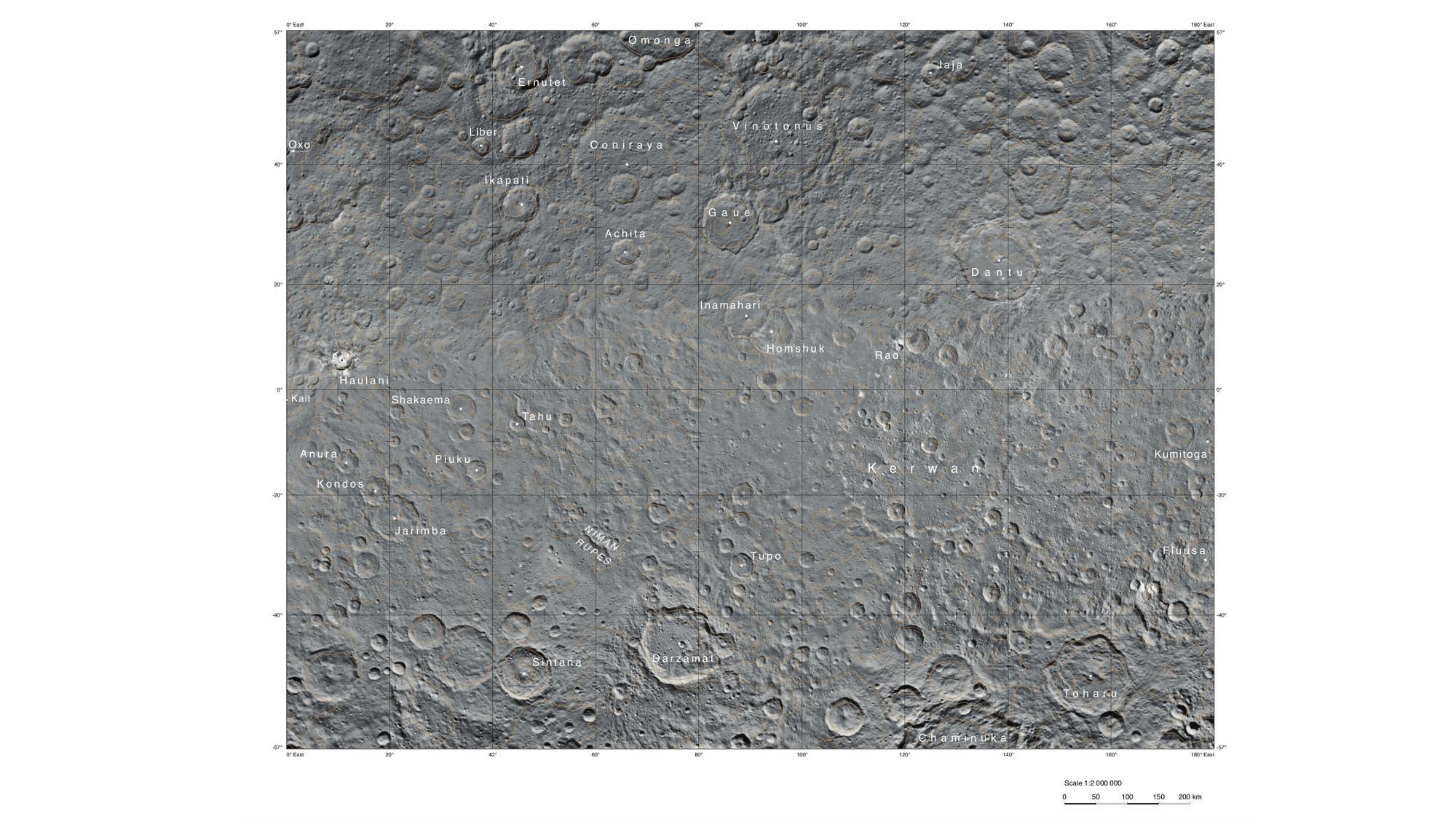 Die Kerwan-Hemisphäre von Ceres (400-Mdeter-Karte)