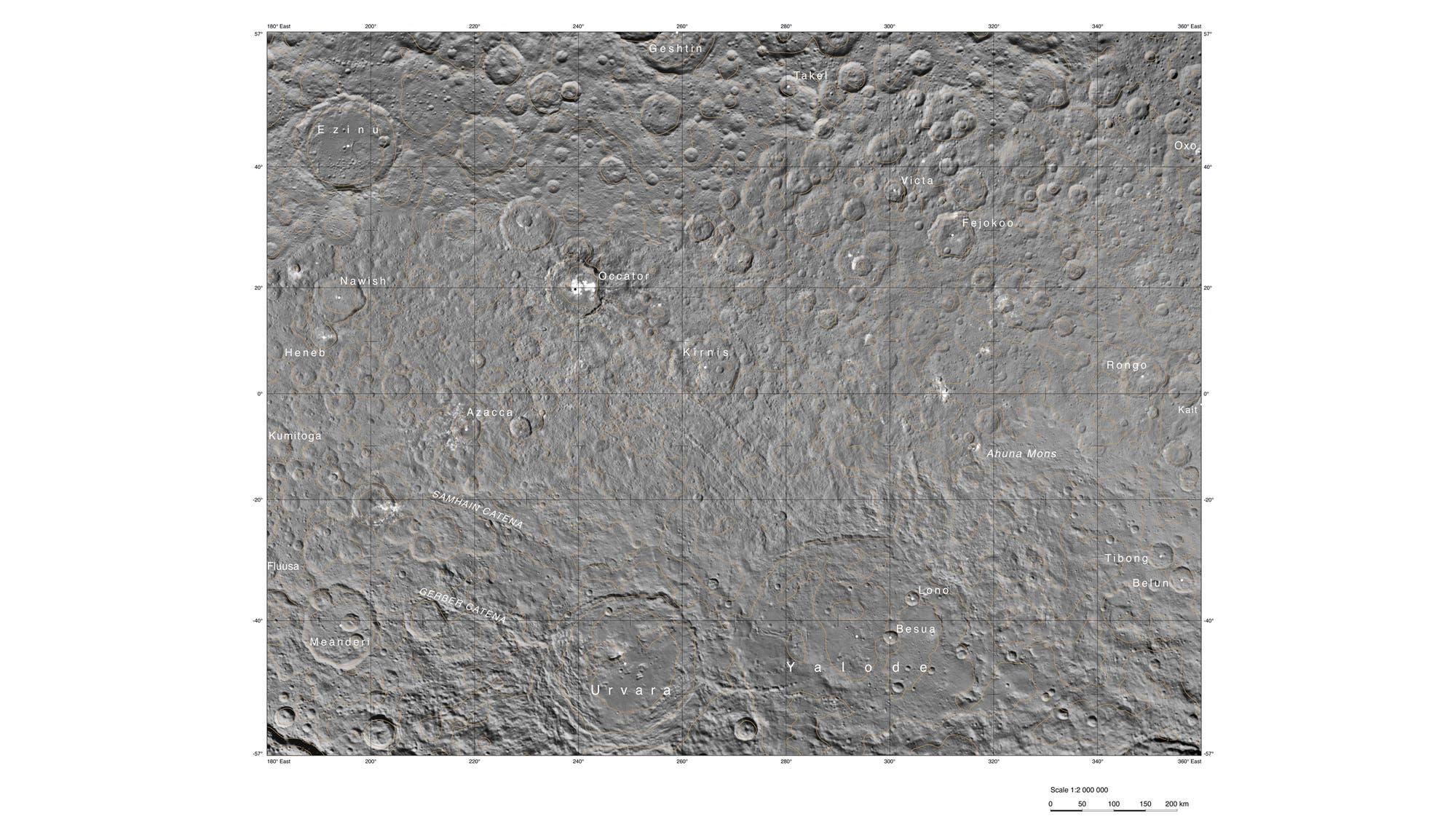 Die Occator-Hemisphäre von Ceres (400-Meter-Karte)