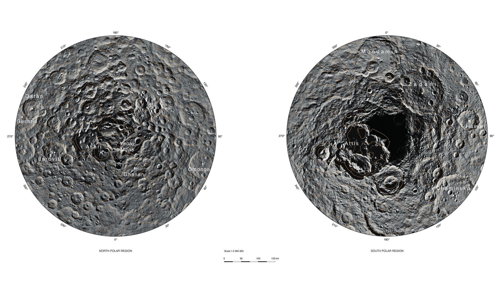 Nord- und Südpol von Ceres (400-Meter-Karte)